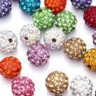 20PCS 10mm Czech Crystal Rhinestones Pave Clay Round Disco Ball Spacer Bead FT