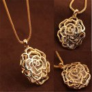 Sweet Women Gold Hollow Rose Flower Crystal Pendant Long Chain Necklace Hot FT06