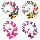 12pcs 3D DIY Mirror Butterfly Sticker  Decal Wall Decals Kids Home Decor Magnet