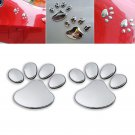 Silver 3D Car Window Bumper Body Decal Sticker Bear Cat Dog Paw Foot Prints