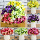 21 Head Artifical Plastic Rose Silk Flower Wedding Bouquet Office Home Decor FT