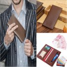 Coffee Charm Men Long Casual Leather Wallet Pockets Clutch Cente Bifold Purse FT
