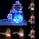Fashion Glow in the Dark Flower Glass Wishing Bottle Vial Pendant Chain Necklace
