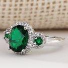luxury 18kt white Gold filled green gems CZ Wedding Engagement Ring Charm SZ7-10
