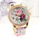 Luxury Women's Leather Stainless Steel Flower Dial Analog Quartz Wrist Watch FT