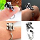 Silver Charm Unique Ring Elephant Adjustable Wrap Finger Statement Jewelry