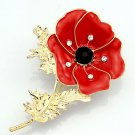 Beautiful Showy Red Poppy Banquet Crystal Elegant Gold Flower Badge Brooch Pin