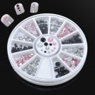3 Color 3D Nail Art Tips Gems Crystal Glitter Rhinestone DIY Decoration+Wheel FT