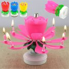 Creative Musical Lotus Flower Rotating Happy Birthday Party Candle Lights FT05