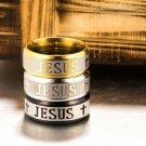 8mm Women Men Jesus Christian Cross Prayer Band Ring Titanium Stainless Steel FT