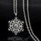 Xmas Silver Frozen Snowflake Crystal Necklace Pendant Chain Christmas Gift New