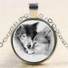 Punk Vintage Wolf Cabochon Tibetan Silver Glass Chain Pendant Necklace Gift FT