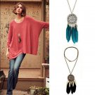 Women Fashion Retro Dream Catcher Feather Pendant Long Sweater Chain Necklace FT