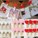 10PCS Cute Mini Hearts Wooden Pegs Photo Clips Craft Wedding Party Decor DIY