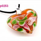 Stylish Cute Women Slap-up Elegant heart lampwork glass bead pendant necklace FT