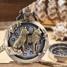 Fashion Unisex Pocket Watch Pendant Handrail Old-fashioned Vintage Bronze FT
