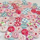 Lots 100PCS 2 Holes Wood Mixed Printing Round Pattern Buttons Scrapbooking 15mm