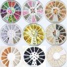 13Styles Fashion Muticolor Nail Art Tips Decoration 3D Glitter DIY Wheel Sets FT