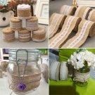 5*200cm Vintage Lace Edged Hessian Burlap Ribbon Rustic Wedding Party Decor FT