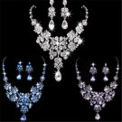 Wedding Bridal Prom Crystal Rhinestone Pendant Necklace Earrings Jewelry Sets FT