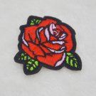 2PCS DIY RED ROSE FLOWER Applique EMBROIDERY IRON ON PATCH BADGE New