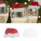 10pcs Christmas Holiday Party Decorations Champagne Wine Glass Caps Xmas Hats
