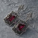 Fashion Women Boho Red Square Drop Dangle Vintage Crystal Earrings Jewelry FT