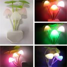 Lovely Color Changing LED Mushroom Night Light Bed Wall Lamp Illumination