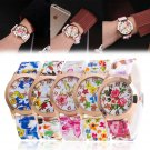 Fashion Women Silicone Printed Flower Watch Causal Quartz Analog Wrist Watches