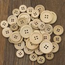 50PCS 4 Holes Mixed Wooden Buttons Natural Color Round Sewing Scrapbooking DIY