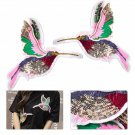 DIY 2pcs Hummingbirds Embroidery Sew Iron On Patch Badge Clothes Fabric Applique