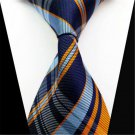 Fashion Classic Blue Orange Check Silk Jacquard Woven Necktie Men's Tie Gift FT
