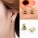 Fun Fashion Enamel Rhinestone Bumble Bee Crystal Earrings Animal Ear Stud FT68