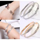 Luxury Women's Gold Plated Retro Double Hoop Style Bracelets Bangle Jewelry Gift