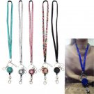 Retractable Fashion Neck Rhinestone Lanyard Strap ID Badge Reel Phone Key Holder