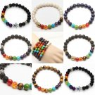Fashion Mens Womens 7 Stone Chakra Healing Reiki Prayer Bead Bracelet Gift FT