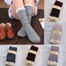 Lace Cotton Women Crochet Knit Footed Leg Boot Cuffs Socks Knee High Stockings