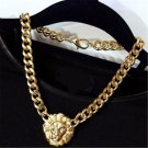 Vintage CELEBRITY STYLE CHUNKY CHAIN NECKLACE LION HEAD GOLD STATEMENT QUEEN