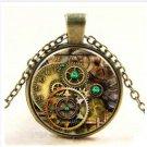 Cool MetalPunk Steampunk Gears Clock Watch-Face Glass Art Pendant Chain Necklace