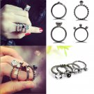 4PCS/SET Punk Beauty Women Silver Plated Rhinestone Index Finger Joint Rings FT