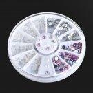 DIY Nail Art Tips Charm Gems Crystal Glitter Rhinestones 3D Decoration Wheel FT