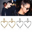 Women 1Pair Hoop Double Heart beaded Earrings Dangle Hollow Ear Studs jewelry FT