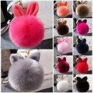 One Rabbit Fur Ball PomPom Cell Phone Car Keychain Pendant Handbag Cute Key Ring