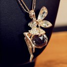 Charm Women Fairy Angel Wing Crystal Pendant Long Chain Sweater Necklace FT