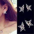 Charm Women Lady Gold Plated Jewelry Crystal Rhinestone Pearl Star Stud Earrings