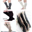 Fashion Women Crochet Lace Trim Cotton Knit Leg Warmers Boot Knee High Socks New