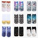 Modern Unisex Women 3D Printed Animal Casual Socks Cute Cat Low Cut Ankle Socks