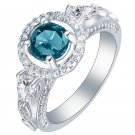 Elegant Women Blue Gemstone Ring 18K Silver Plated Engagement Bride Jewelry Gift