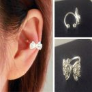 Lovely Sweet Bowknot Bow Rhinestone Crystal Silver Ear Bone Clip Gift Earrings