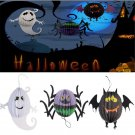3PCS Scary Halloween Pumpkin Spider Bat Skeleton Lamp Paper Lanterns Decor Party